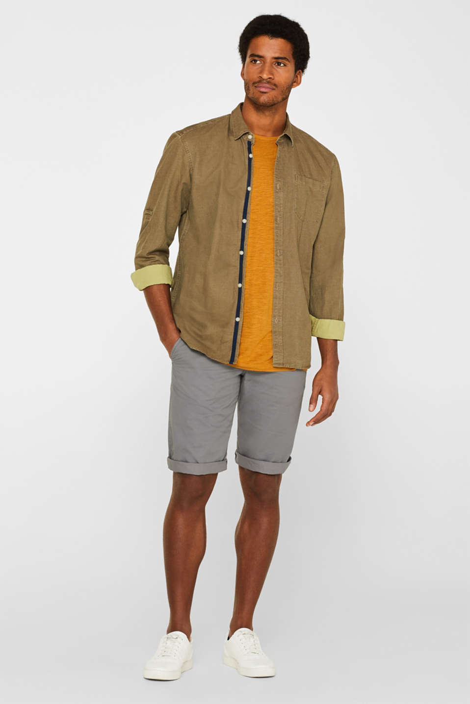 Shorts with organic cotton, DARK GREY, detail image number 1