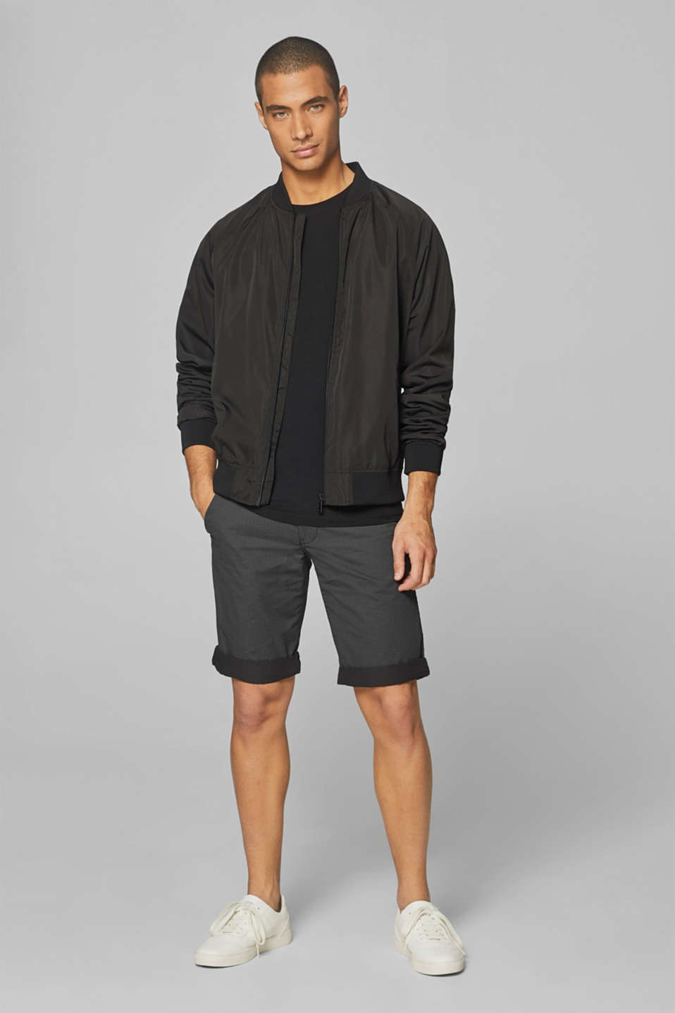 Shorts woven Slim fit, ANTHRACITE, detail image number 1