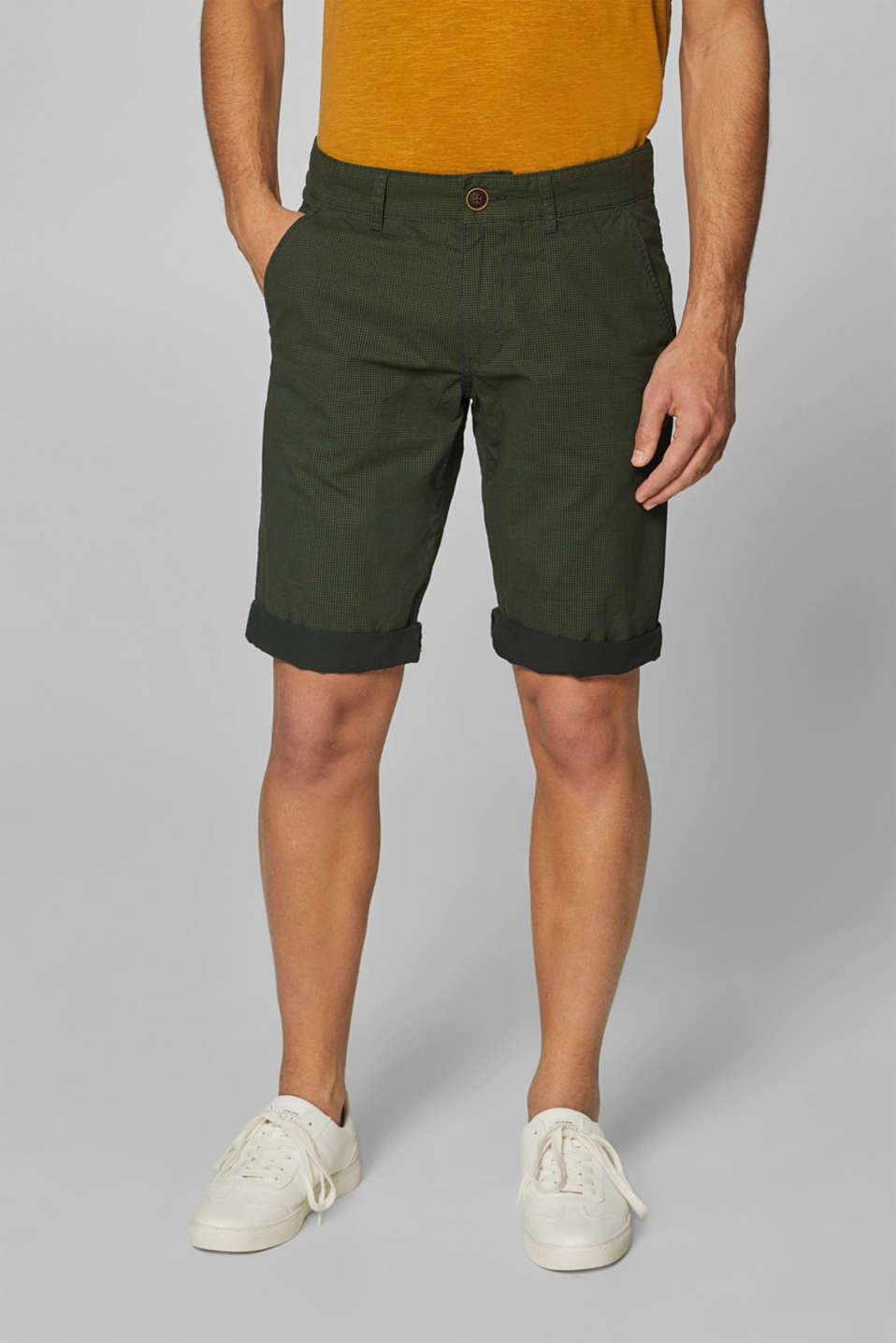Print shorts in 100% cotton, DARK GREEN, detail image number 0