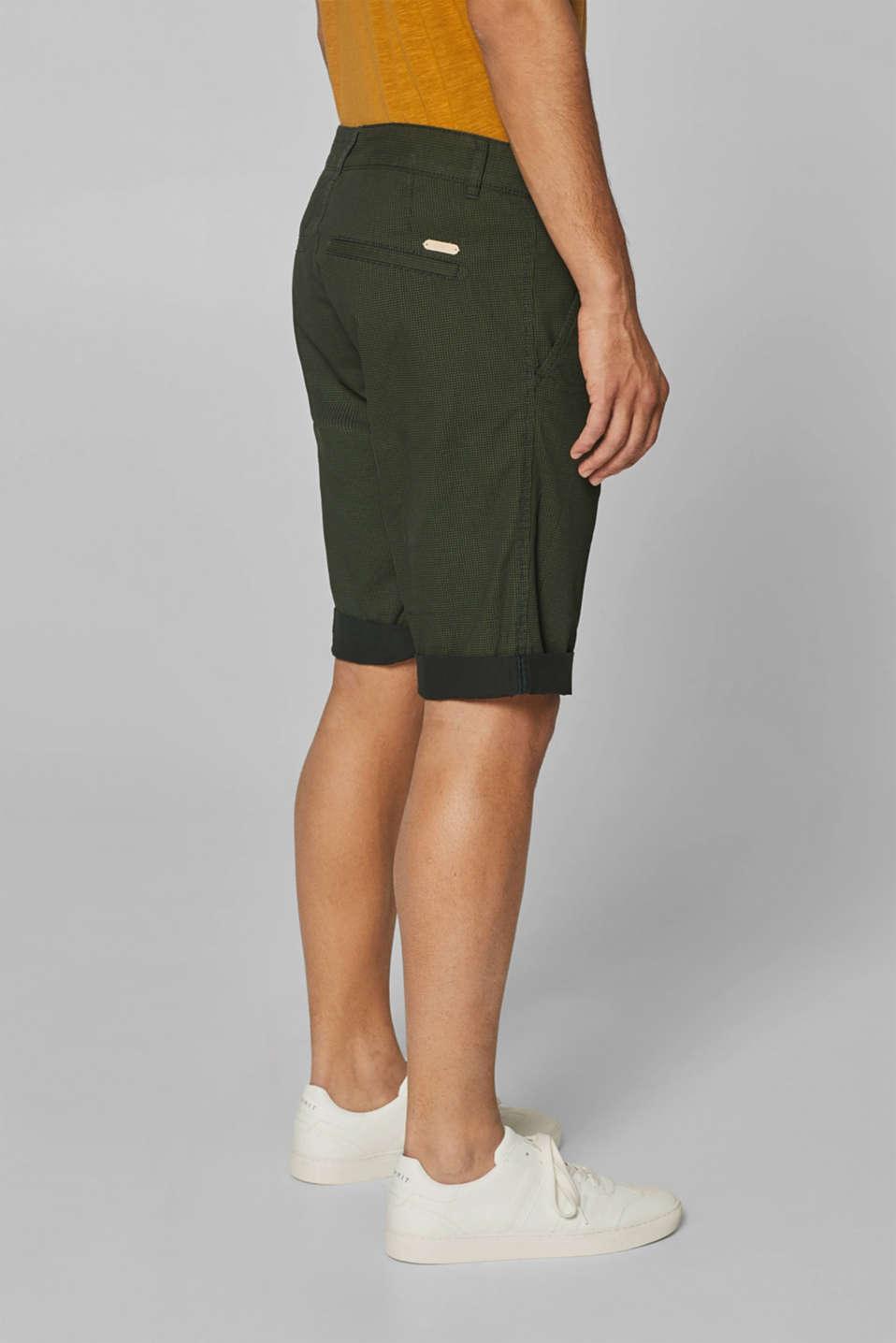 Print shorts in 100% cotton, DARK GREEN, detail image number 3
