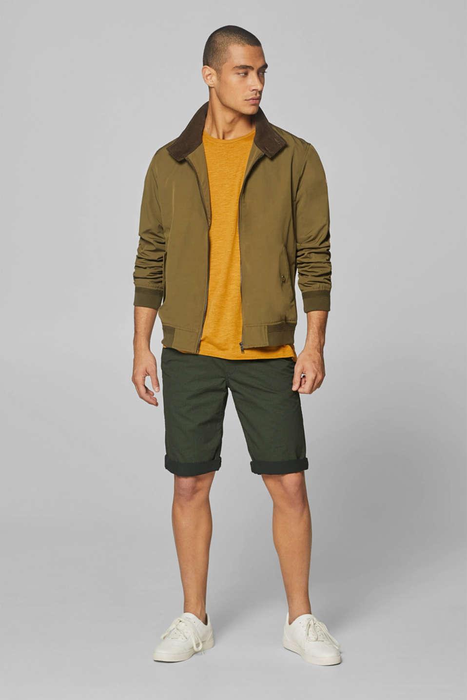 Print shorts in 100% cotton, DARK GREEN, detail image number 1