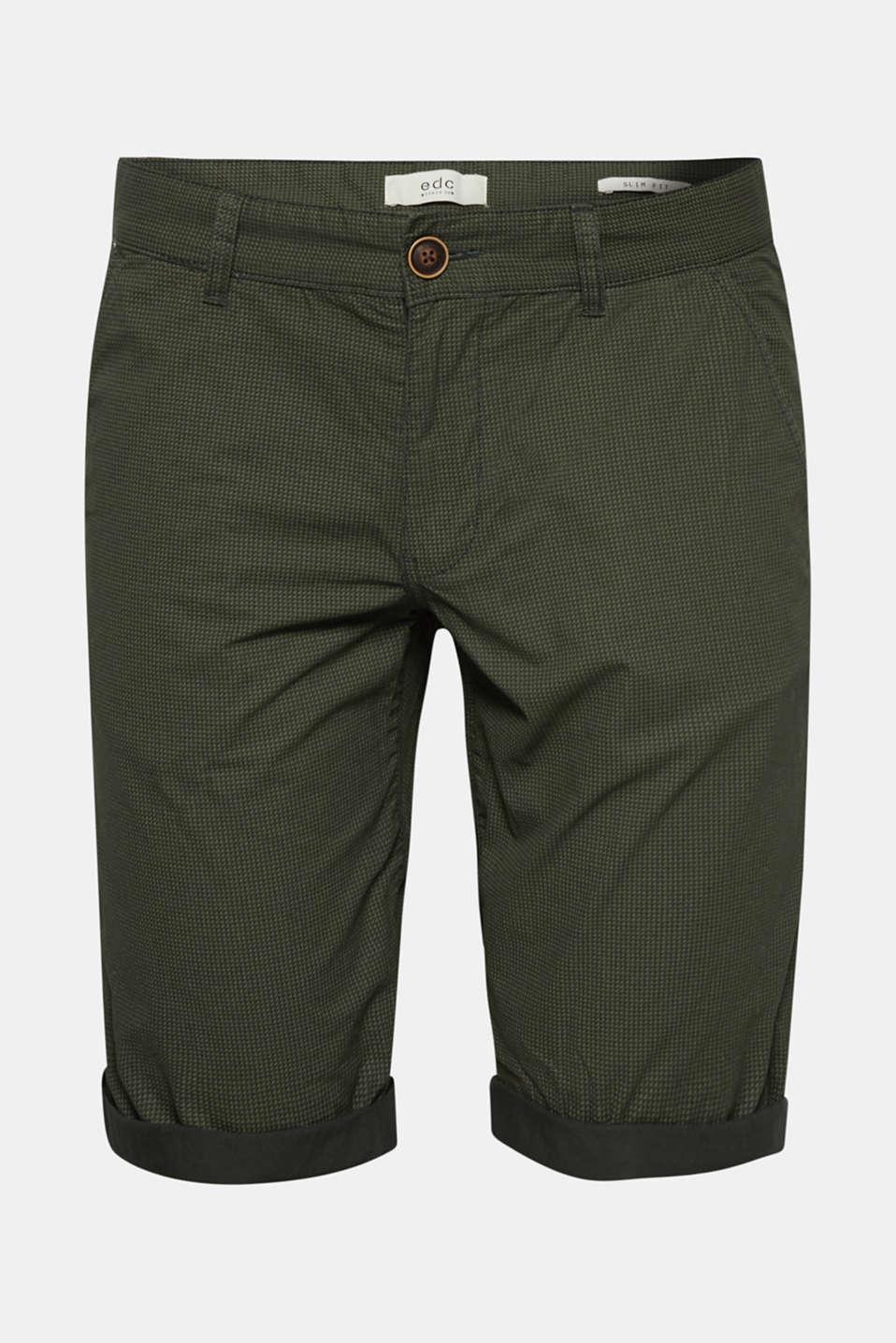 Print shorts in 100% cotton, DARK GREEN, detail image number 6