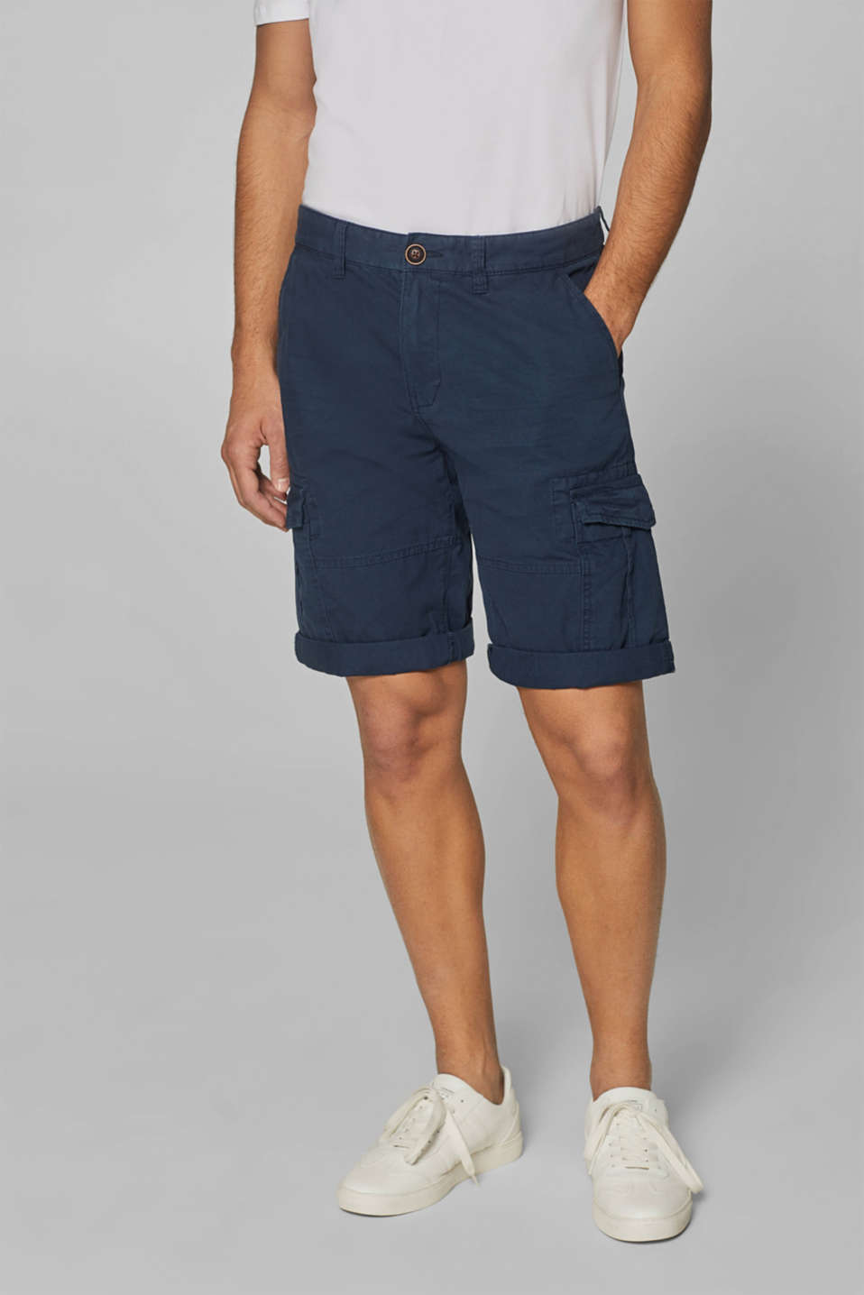 Cargo shorts with organic cotton, 100% cotton, NAVY, detail image number 0
