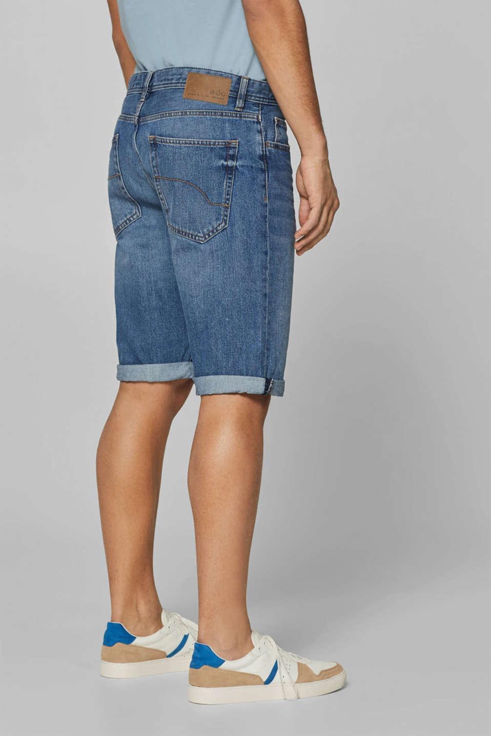 Denim shorts with organic cotton, 100% cotton, BLUE MEDIUM WASH, detail image number 3