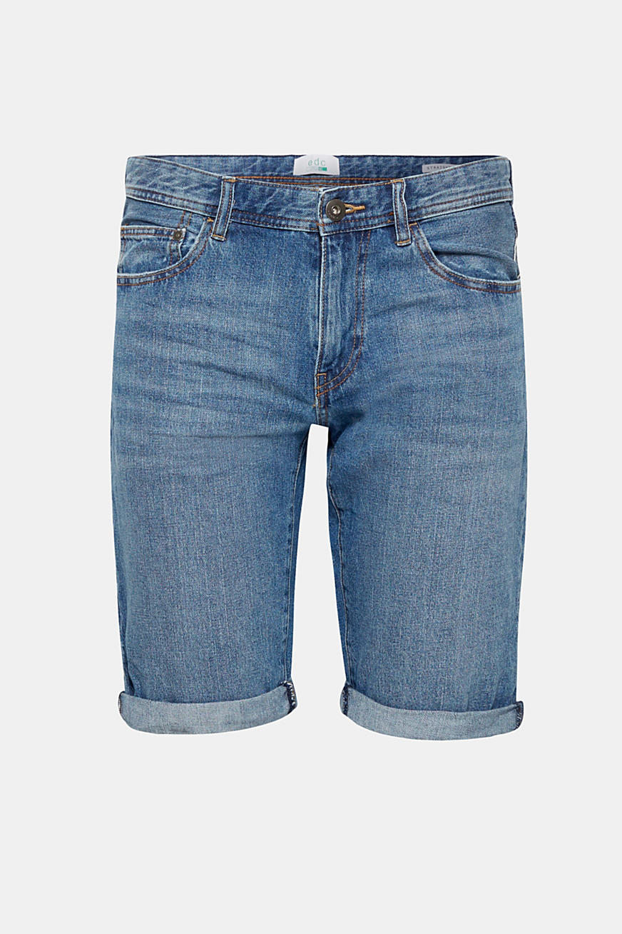Denim short met organic cotton, 100% katoen