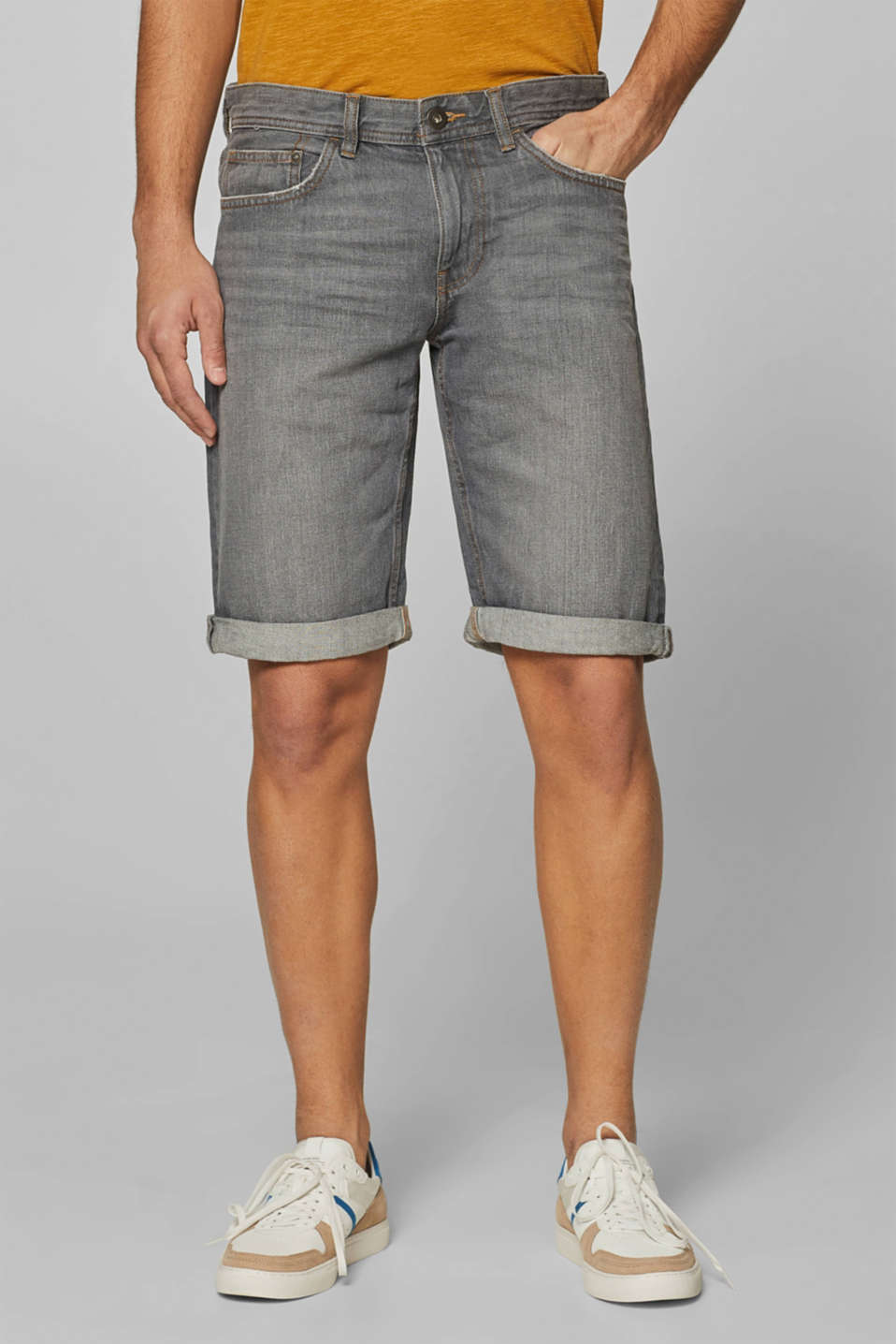 Denim shorts with organic cotton, GREY LIGHT WASH, detail image number 0