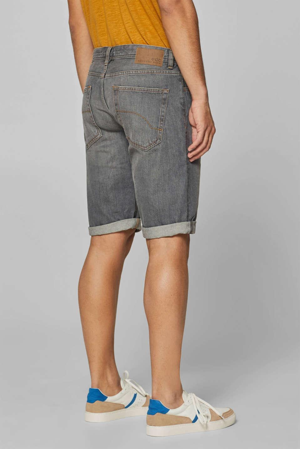 Denim shorts with organic cotton, GREY LIGHT WASH, detail image number 3