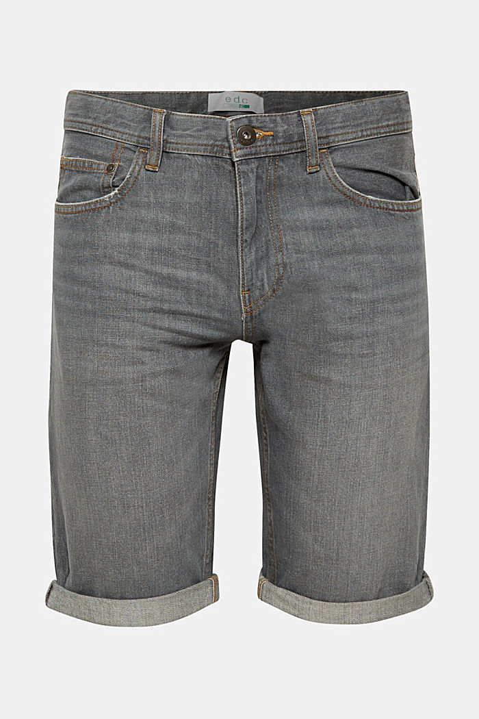 Denim shorts with organic cotton, GREY DARK WASHED, detail image number 0