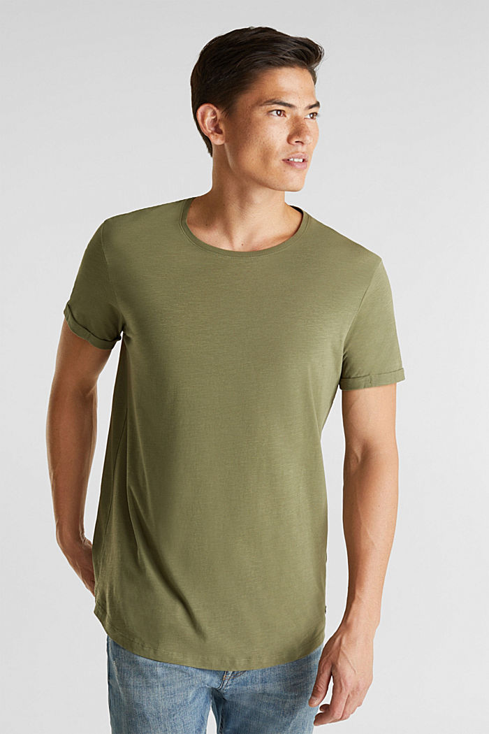 Jersey cotton top, KHAKI GREEN, detail image number 0