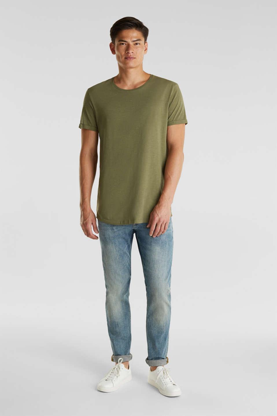 Jersey cotton top, KHAKI GREEN, detail image number 1