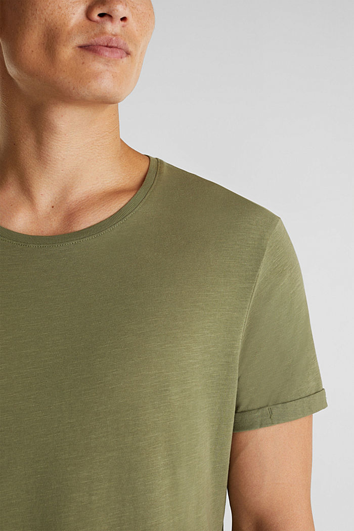 Jersey cotton top, KHAKI GREEN, detail image number 1