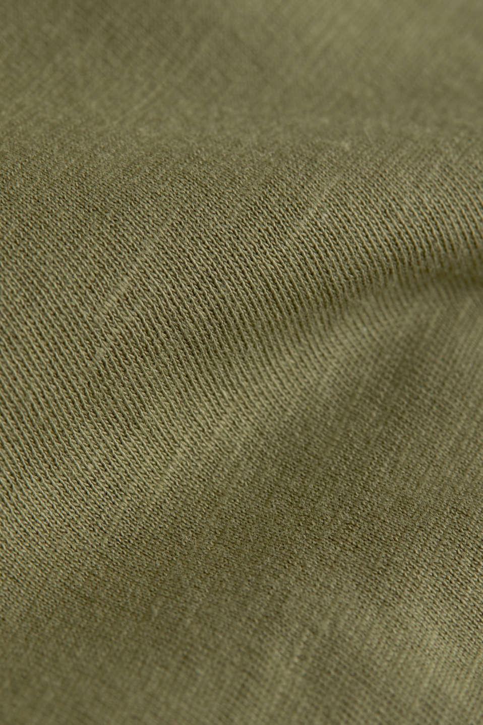 Jersey cotton top, KHAKI GREEN, detail image number 4