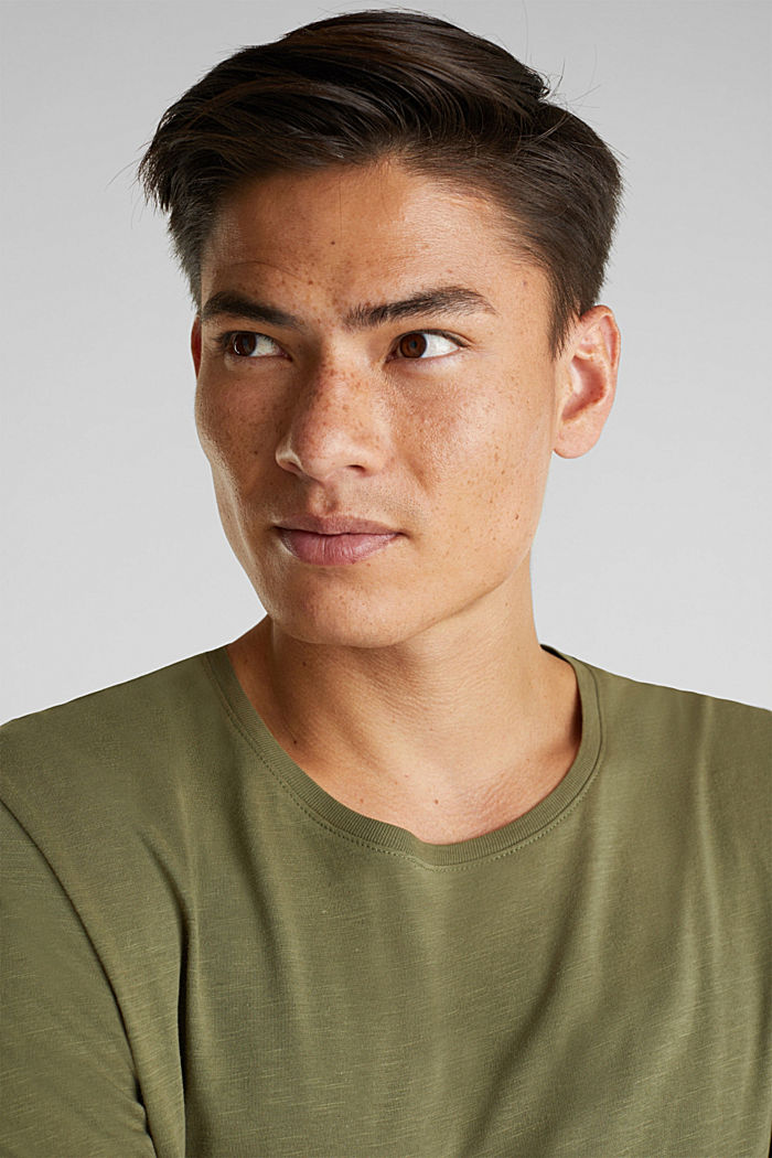 Jersey cotton top, KHAKI GREEN, detail image number 5