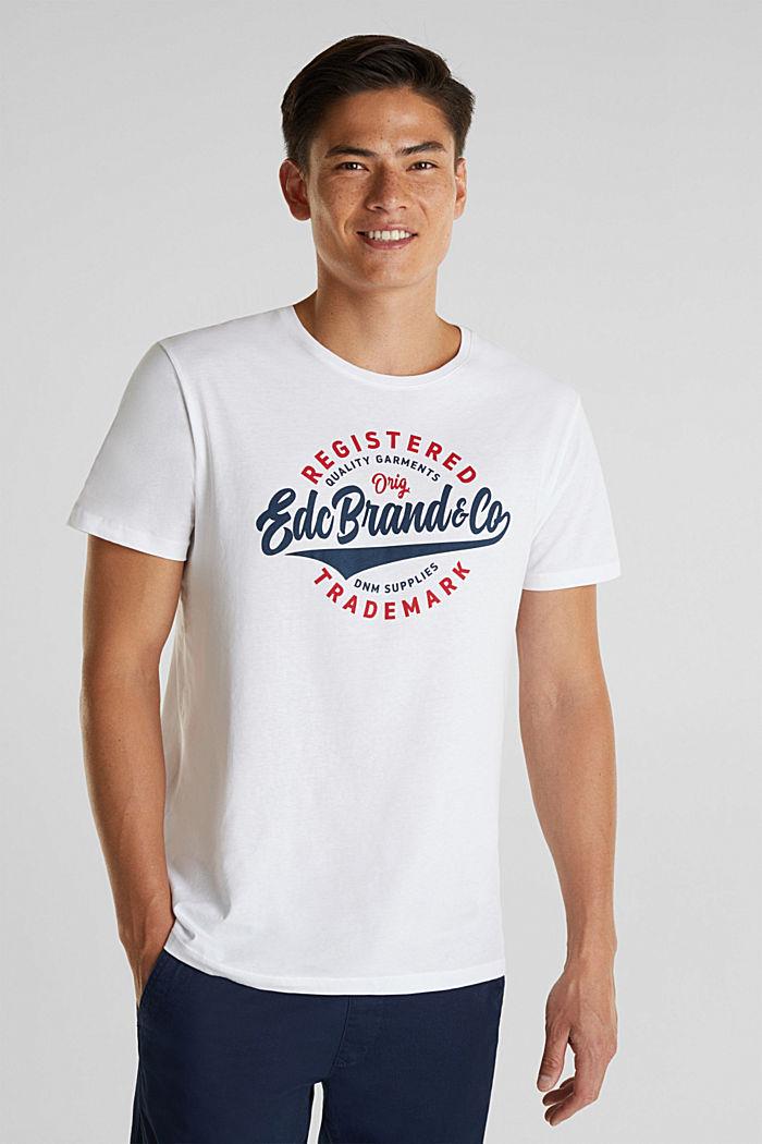 Camiseta de jersey con estampado, 100% algodón, WHITE, detail image number 0