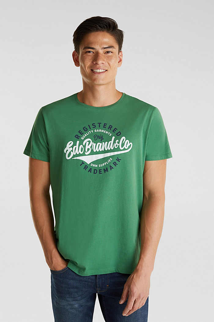 Jersey T-shirt with a print, 100% cotton, GREEN, detail image number 0