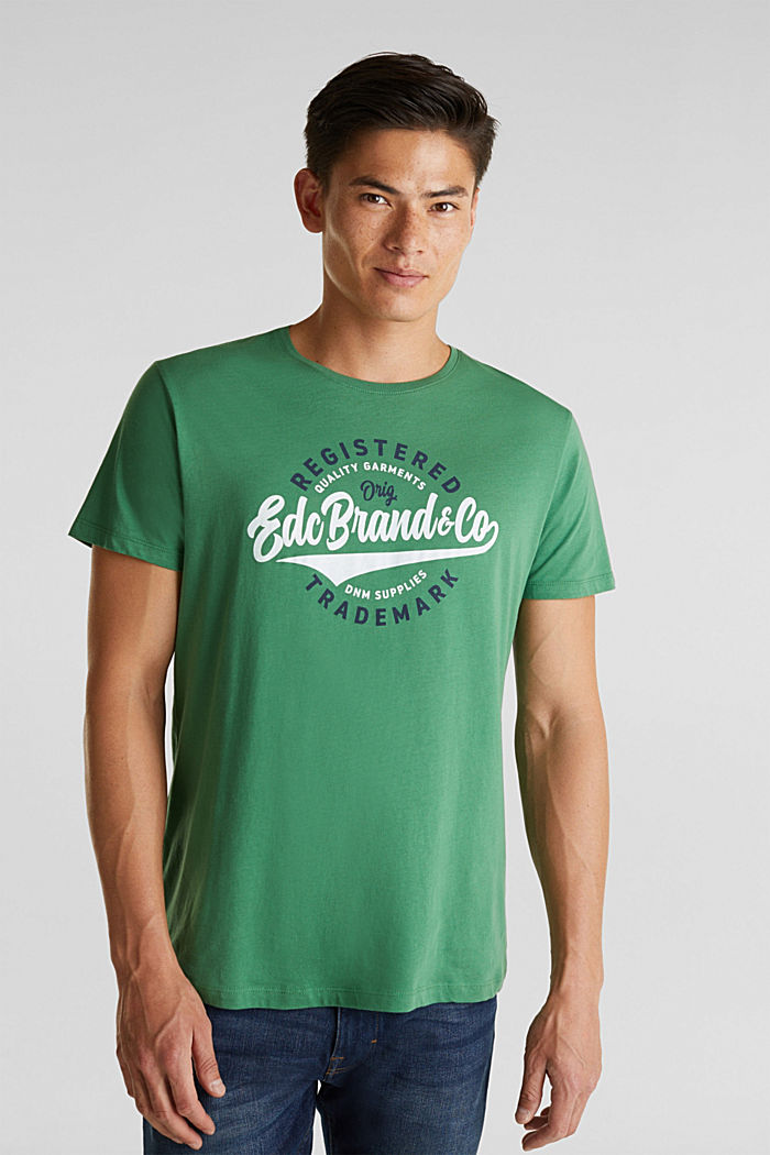 Jersey T-shirt with a print, 100% cotton, GREEN, detail image number 4