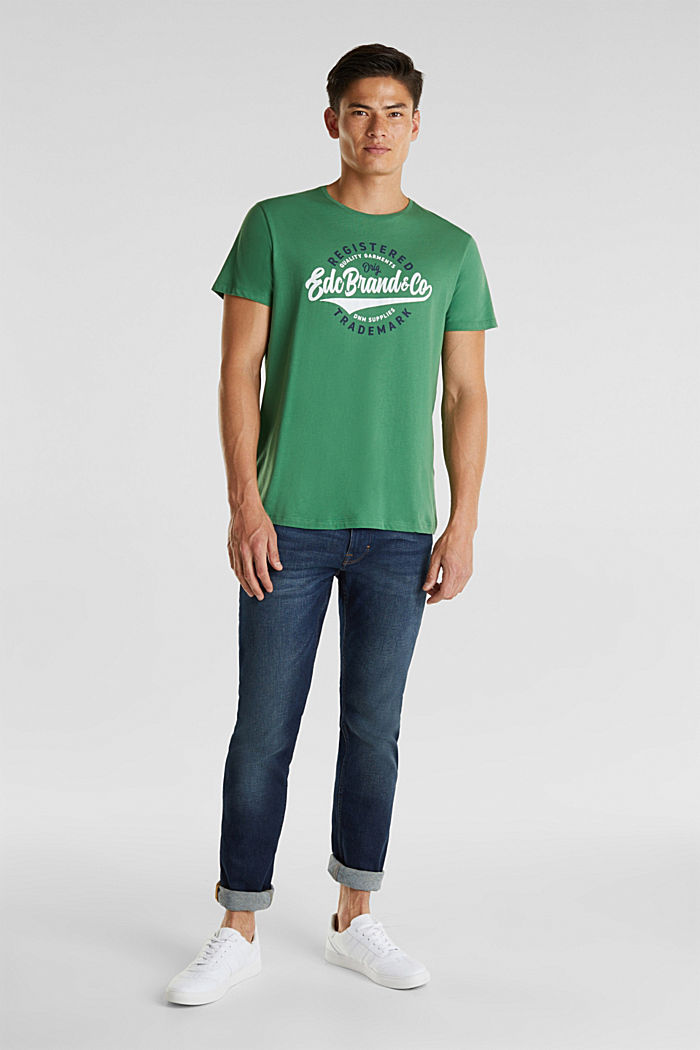 Jersey T-shirt with a print, 100% cotton, GREEN, detail image number 2