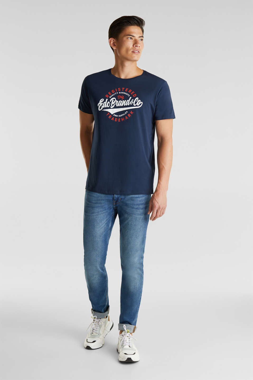 Jersey T-shirt with a print, 100% cotton, NAVY, detail image number 2