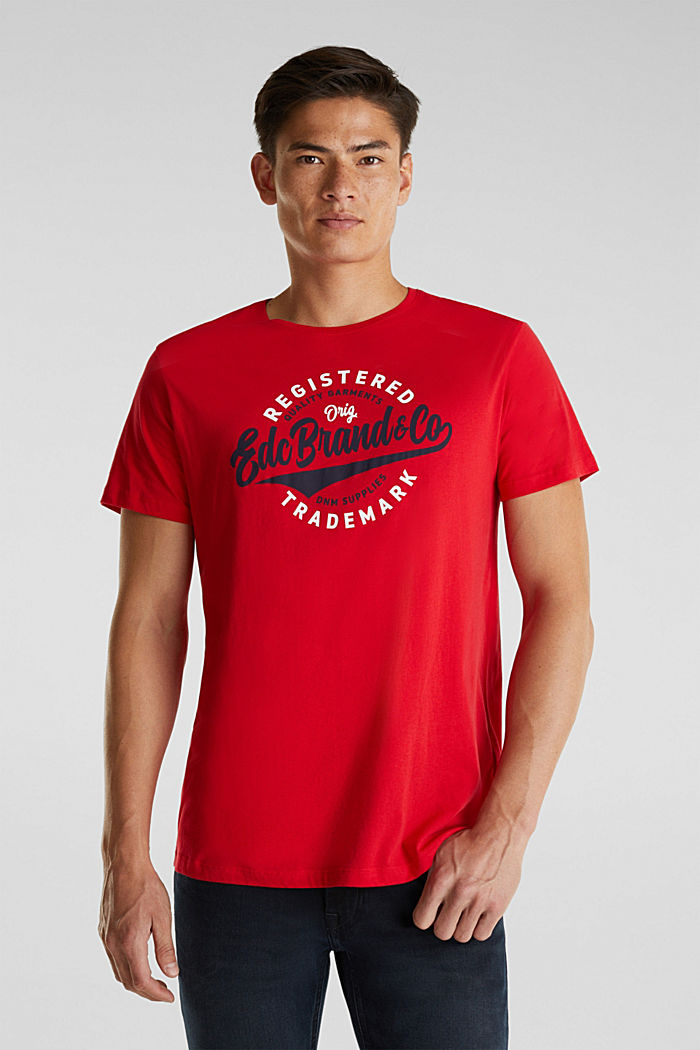 Jersey T-shirt with a print, 100% cotton, RED, detail image number 0