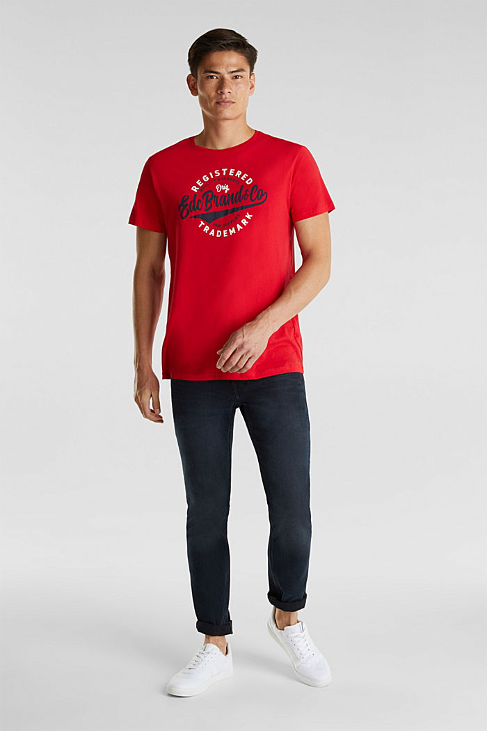 Jersey T-shirt with a print, 100% cotton, RED, detail image number 2