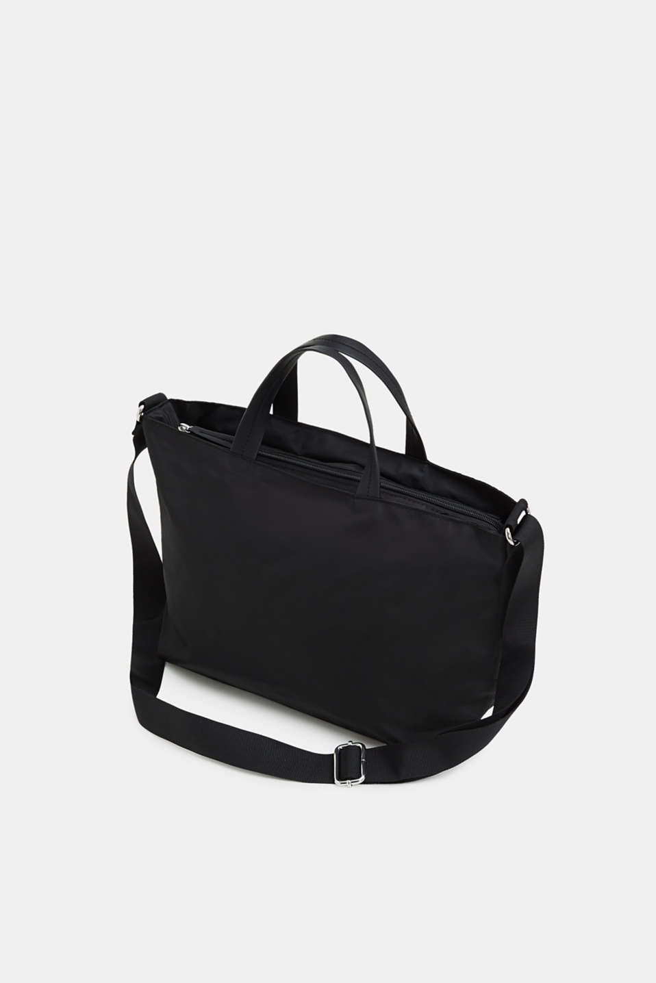 City bag with logo, in textured nylon, BLACK, detail image number 5