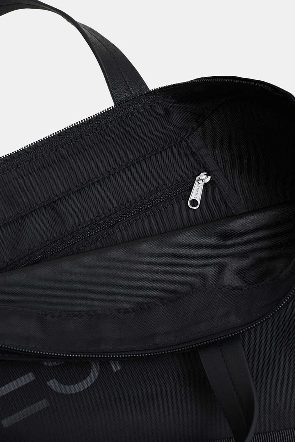 City bag with logo, in textured nylon, BLACK, detail image number 4