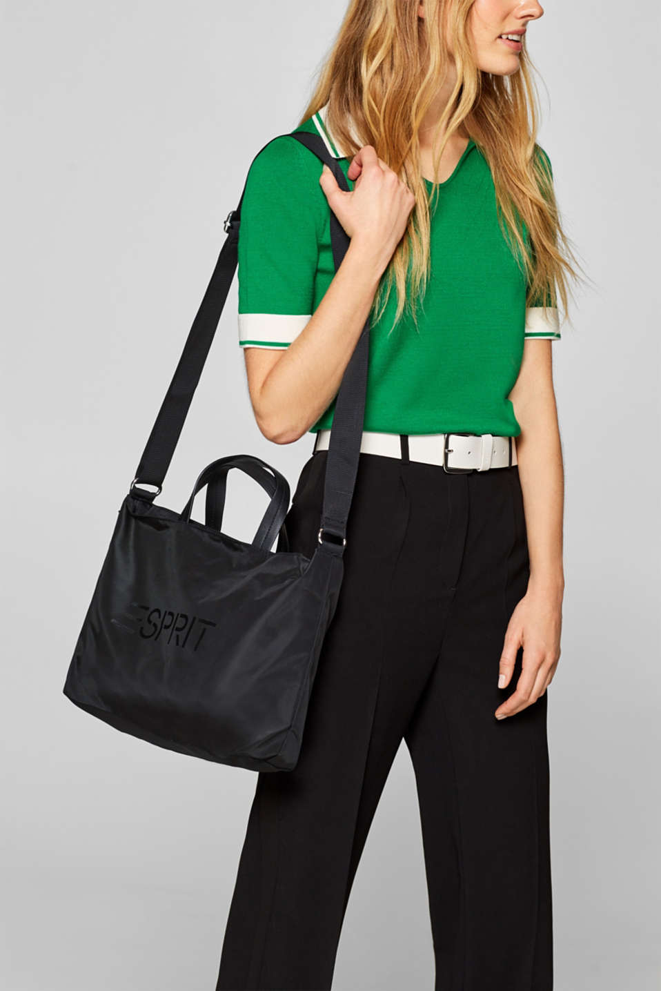 City bag with logo, in textured nylon, BLACK, detail image number 1
