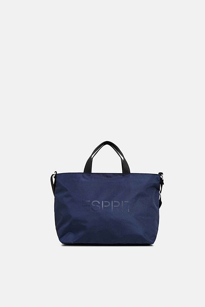 City bag with logo, in textured nylon, NAVY, detail image number 0