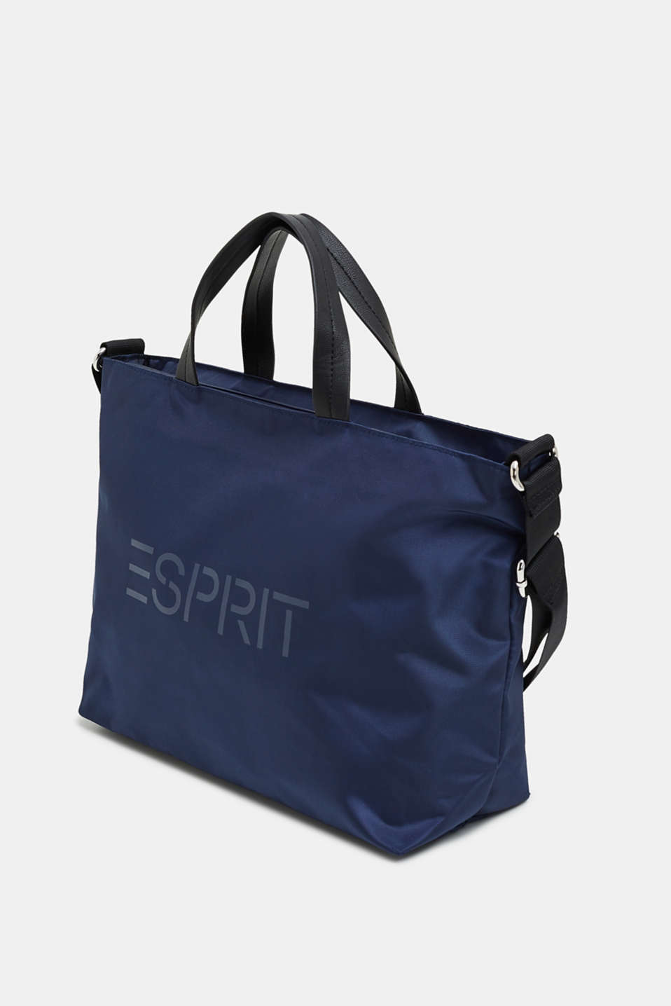 City bag with logo, in textured nylon, NAVY, detail image number 2