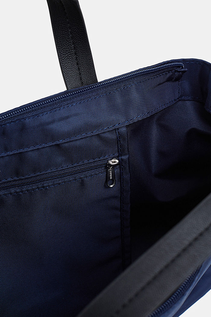 City bag with logo, in textured nylon, NAVY, detail image number 3