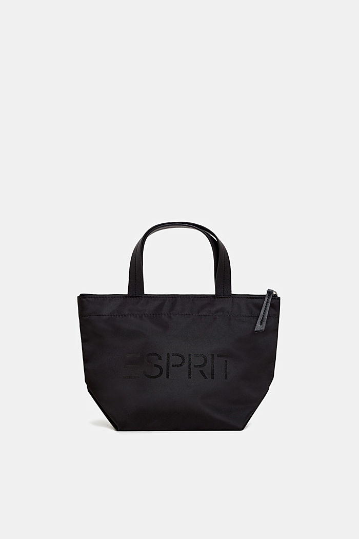 Nylon handbag with a logo print, BLACK, detail image number 0
