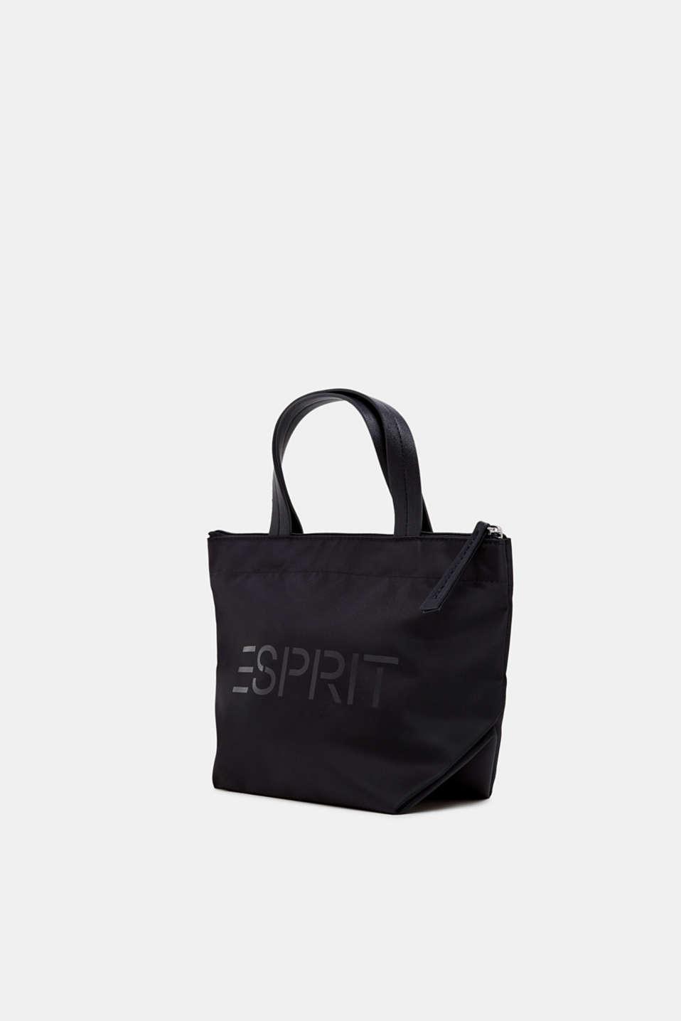 Nylon handbag with a logo print, BLACK, detail image number 2