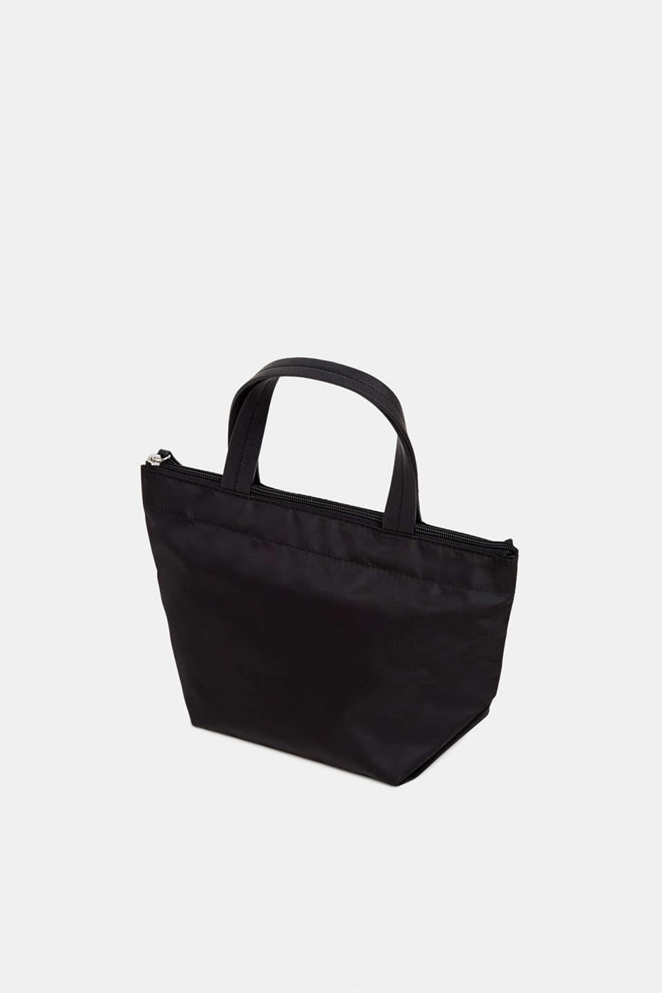Nylon handbag with a logo print, BLACK, detail image number 5