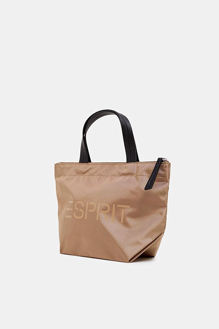Nylon handbag with a logo print, BEIGE, detail image number 1