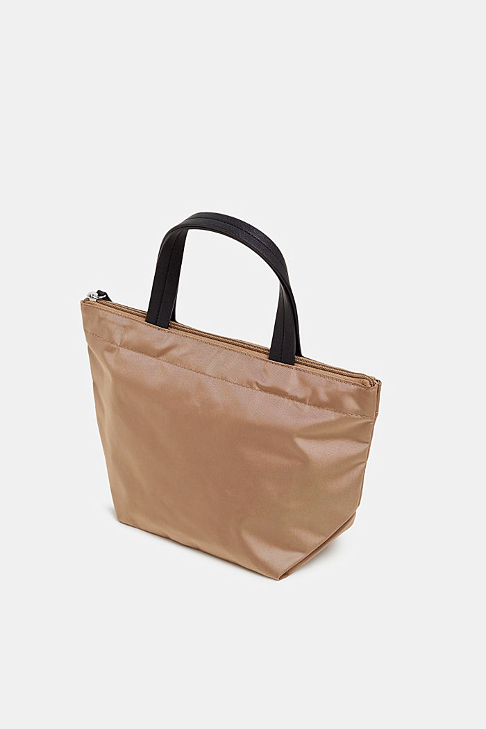 Nylon handbag with a logo print, BEIGE, detail image number 4