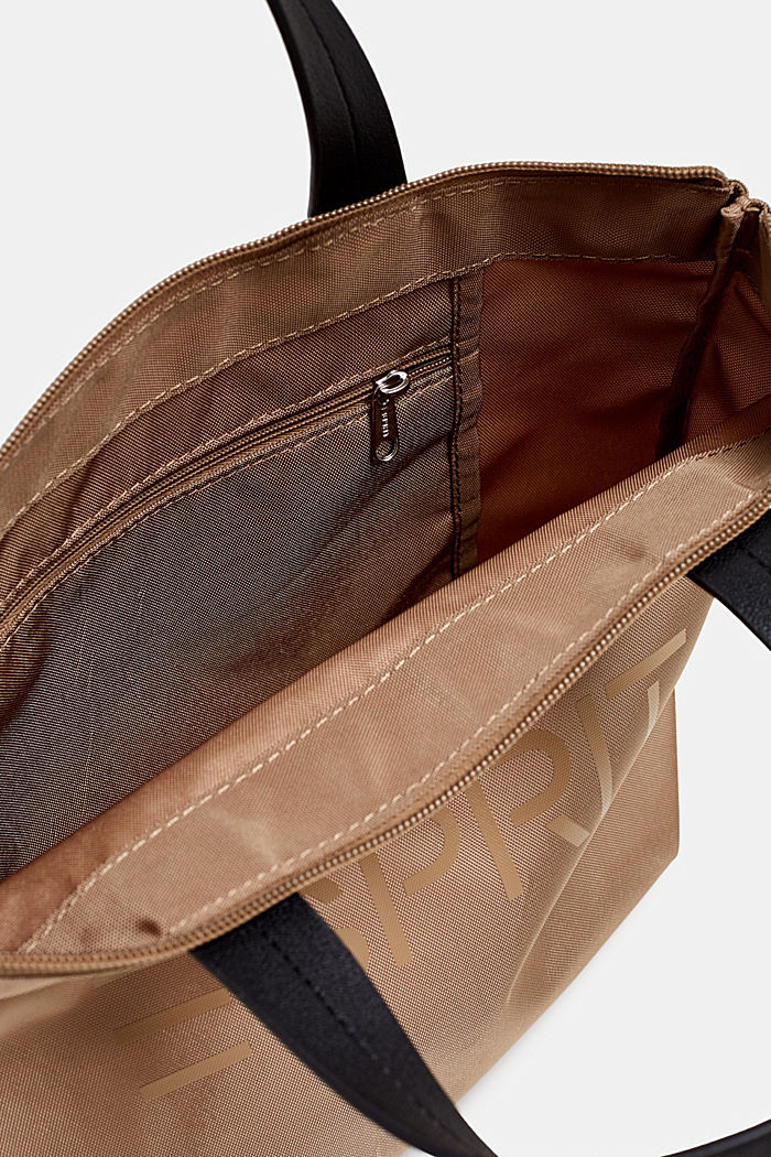 Nylon handbag with a logo print, BEIGE, detail image number 3