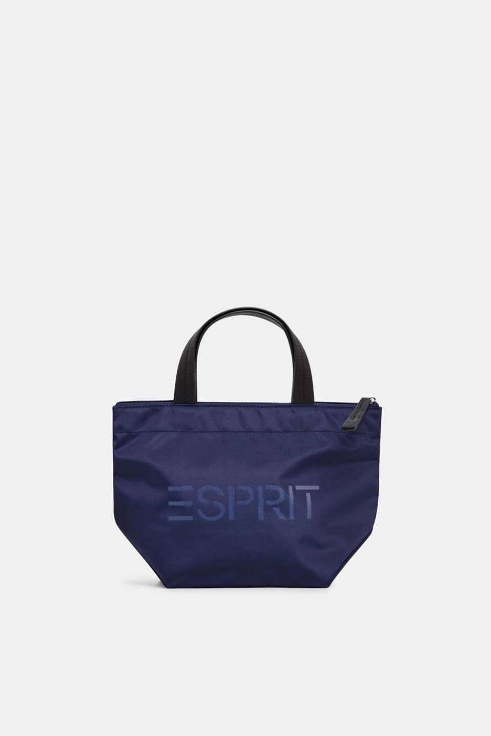 Nylon handbag with a logo print, NAVY, detail image number 0
