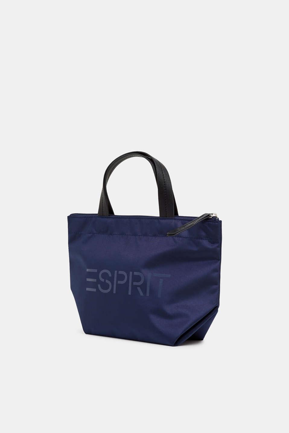 Nylon handbag with a logo print, NAVY, detail image number 2