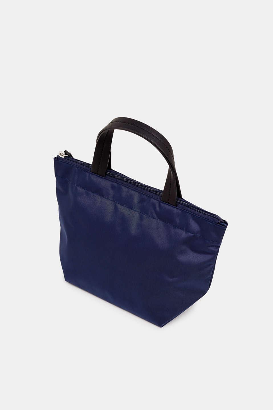 Nylon handbag with a logo print, NAVY, detail image number 4