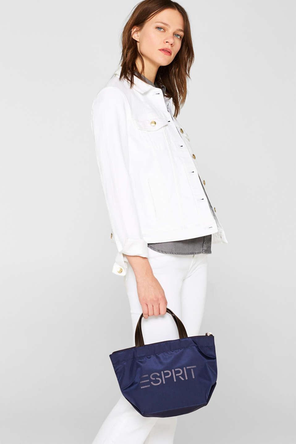 Nylon handbag with a logo print, NAVY, detail image number 1