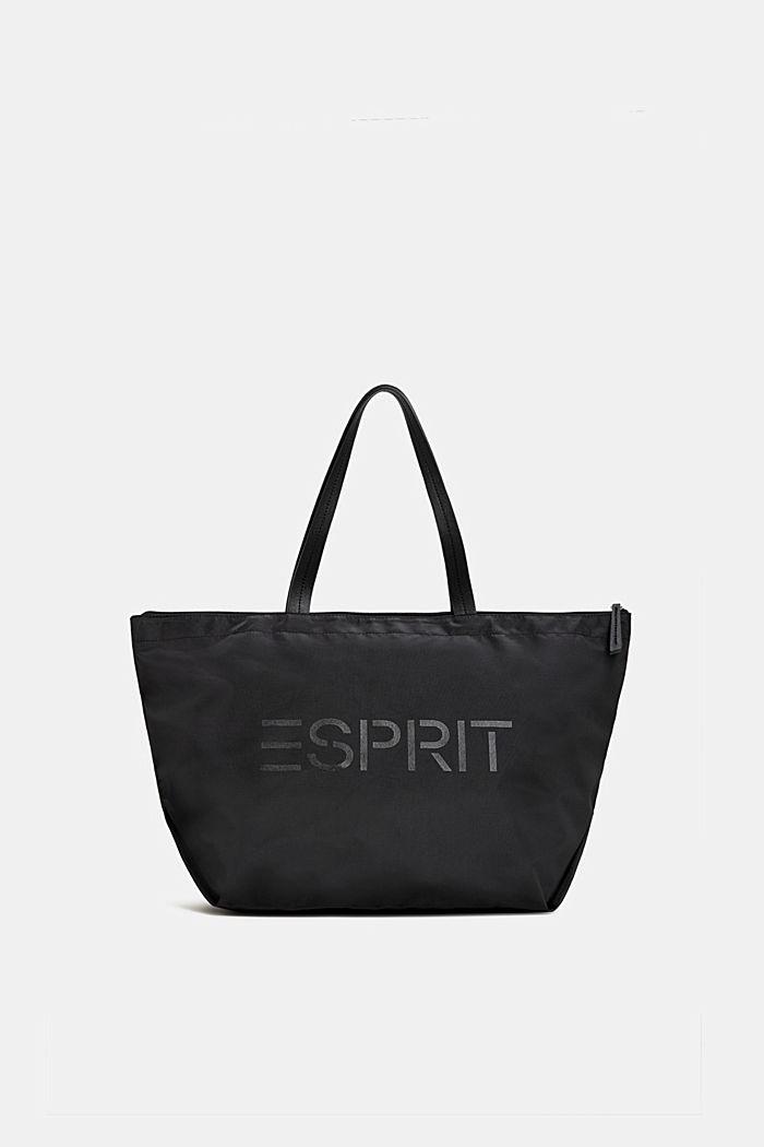 Nylon shopper met logoprint, BLACK, detail image number 0