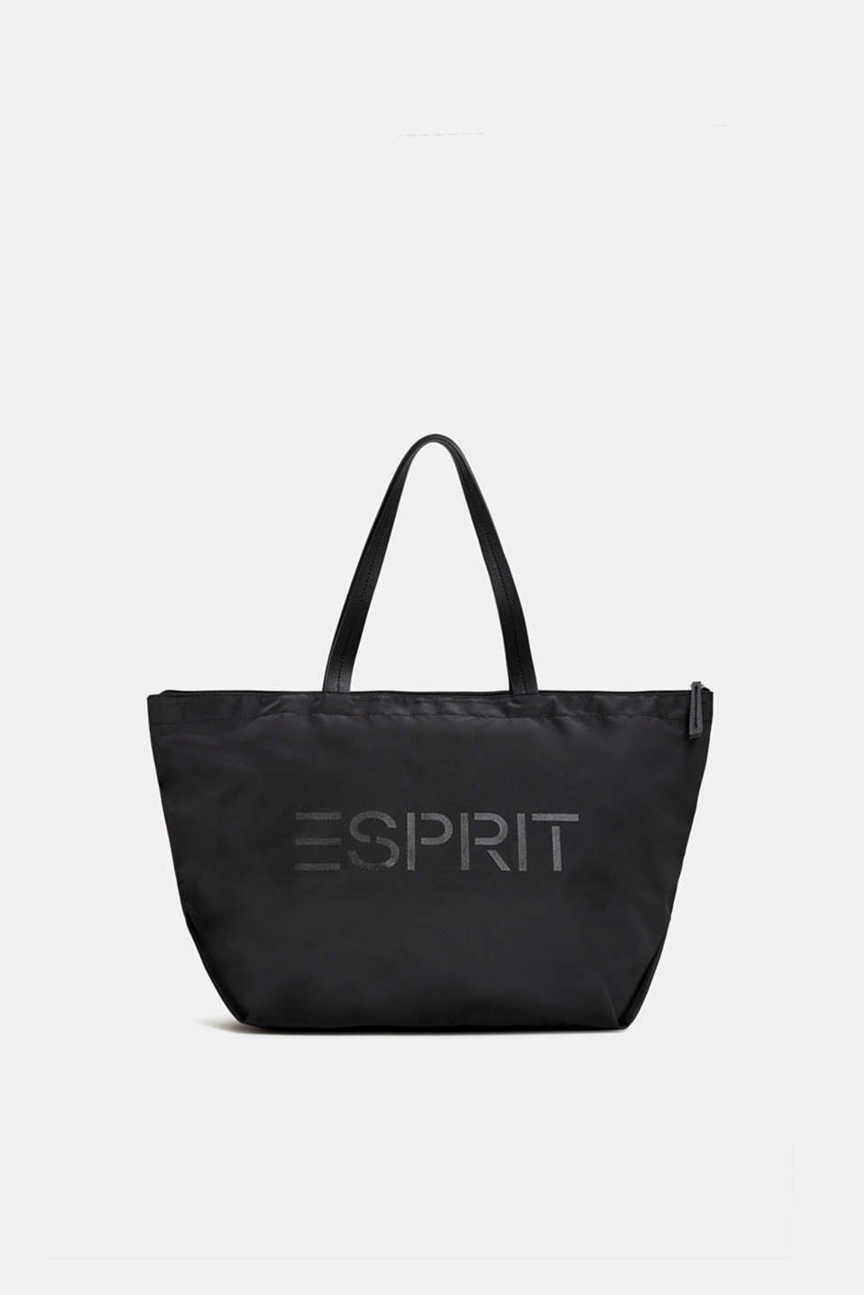 Nylon shopper with a logo print, BLACK, detail image number 0