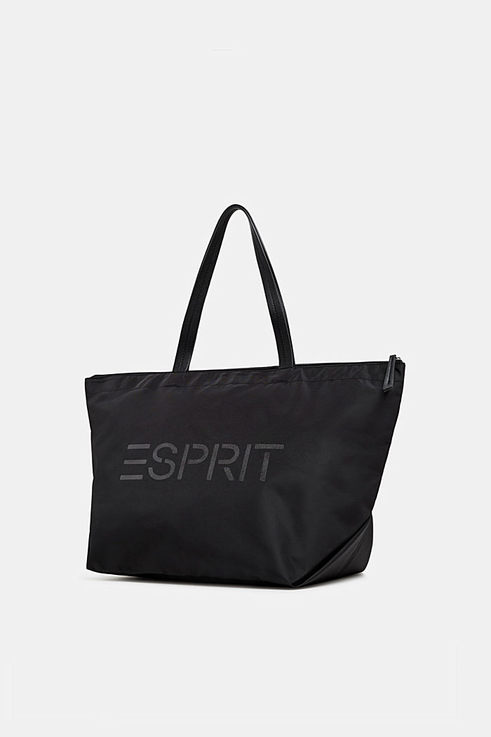 Nylon shopper with a logo print, BLACK, detail image number 1