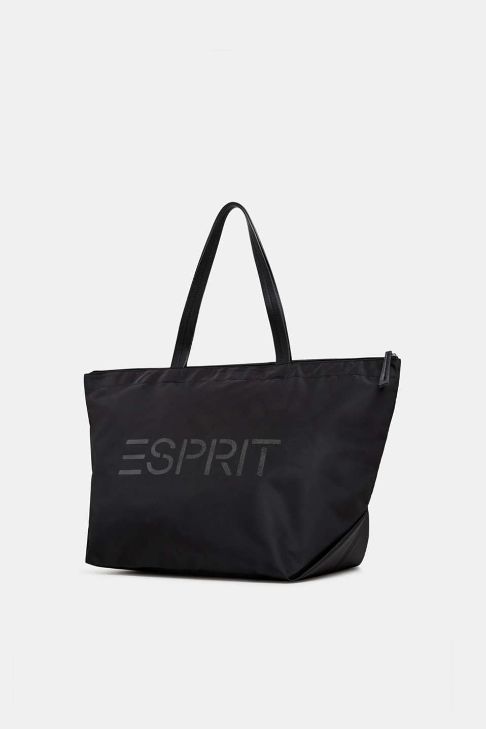 Nylon shopper with a logo print, BLACK, detail image number 2