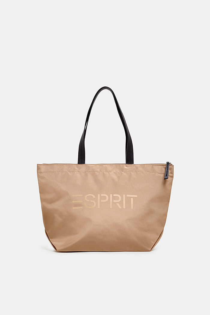 Nylon shopper with a logo print