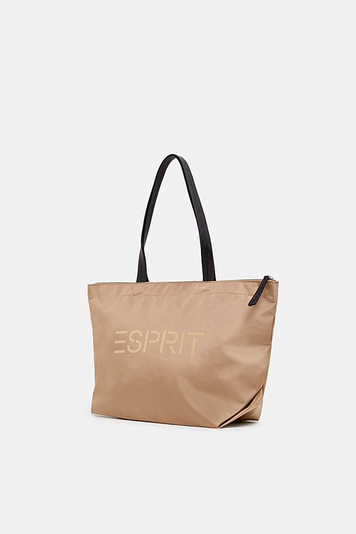 Nylon shopper with a logo print, BEIGE, detail image number 1