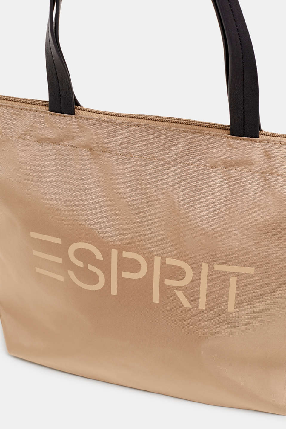 Nylon shopper with a logo print, BEIGE, detail image number 3