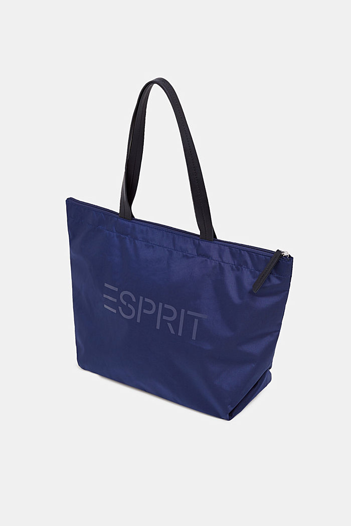 Nylon-Shopper mit Logo-Print, NAVY, detail image number 1