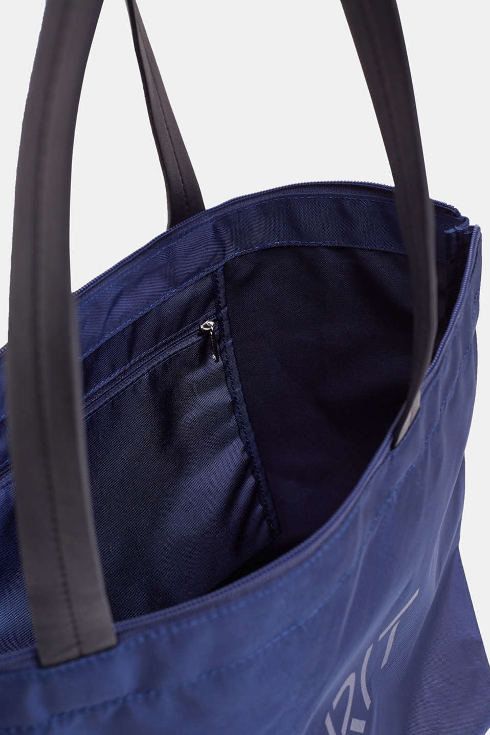 Nylon shopper with a logo print, NAVY, detail image number 4