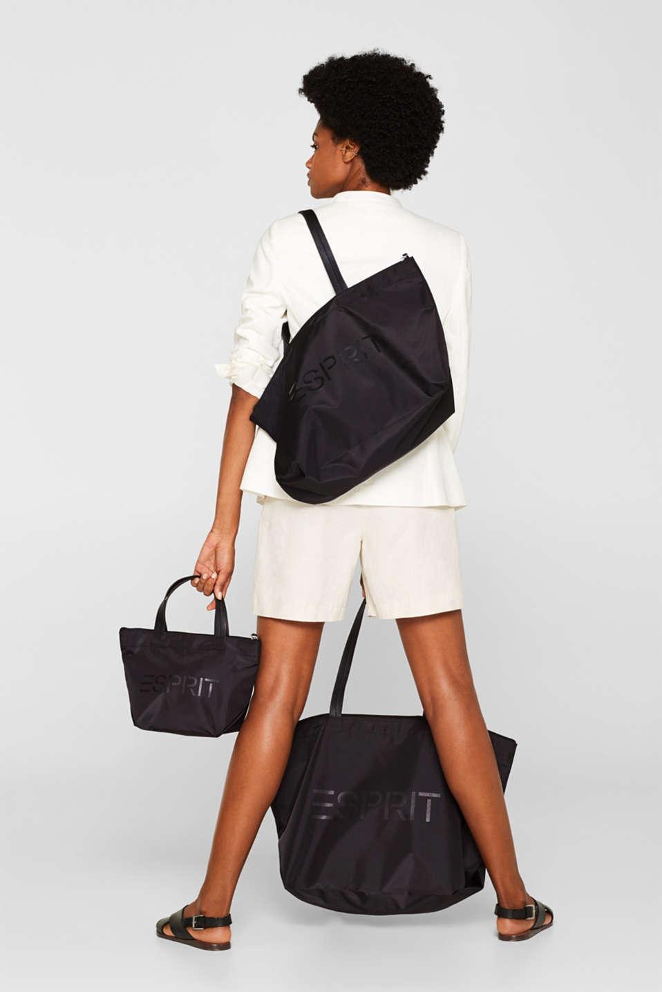 Nylon tote bag, BLACK, detail image number 4